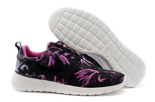 Wmns Nike Roshe Run Shoes New Releases Black Floral Purple Wholesale